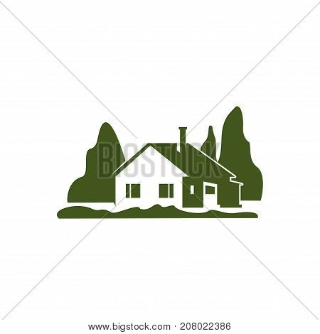 Gardening or landscape association icon of house or eco village in green park or trees square. Vector template for nature landscape or eco planting design and horticulture environment company