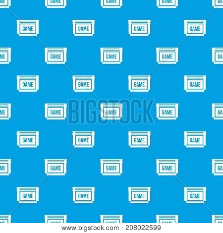 Game cartridge pattern repeat seamless in blue color for any design. Vector geometric illustration