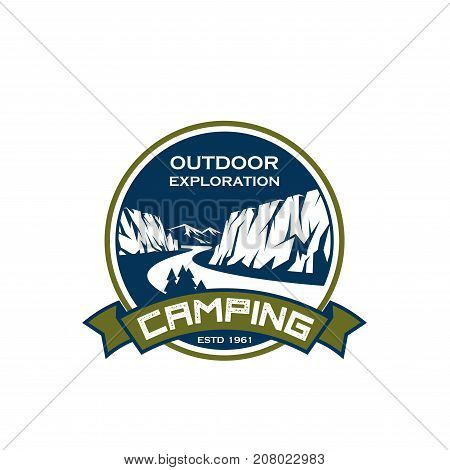 Camping exploration and mountain extreme sport icon design template for tourist mountaineering adventure club. Vector badge of camp tent in Alpine mountain rocks and ribbon for camping expedition