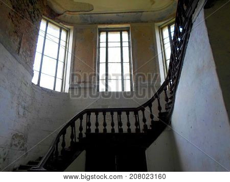 Interior of the abandoned palace in Belarus (Zheludok, Grodno region), built in the early twentieth century, example of Art Nouveau style