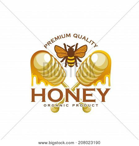 Honey product icon of bee and wooden honey dipper with dripping drops for package label template. Vector organic honey splash design for beekeeping company or shop and farm market label
