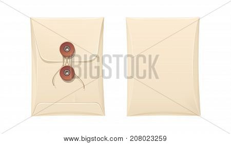 Paper envelope with rope lock. Vintage Stationery office accessory for cover paper document. Isolated white background. Vector illustration.