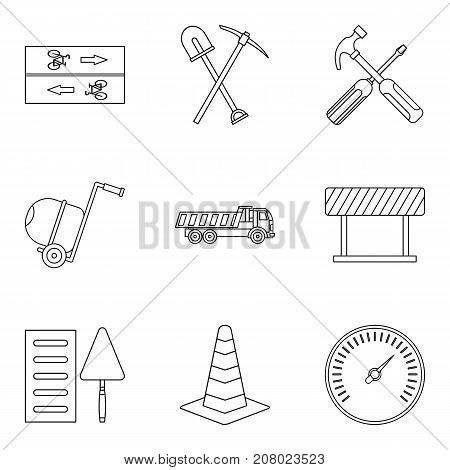 Repair pedestrian zone icons set. Outline set of 9 repair pedestrian zone vector icons for web isolated on white background