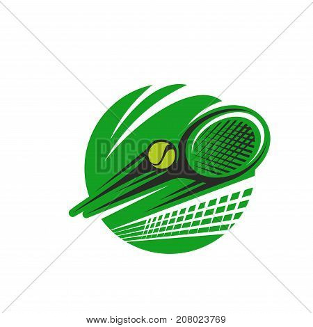 Tennis sport club or champion league and sports fan icon template. Vector isolated symbol of tennis ball and racket with goal net in green circle for tournament or championship design