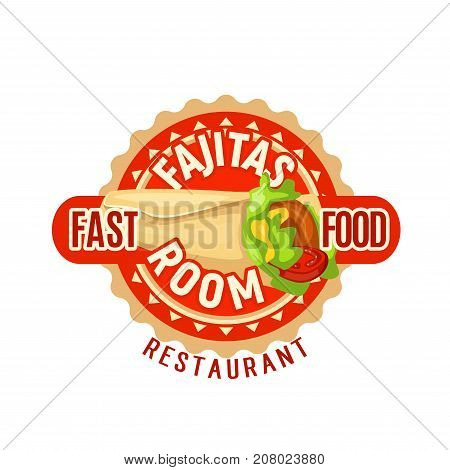 Fast food fajitas icon for Mexican fastfood snack, restaurant menu or delivery. Vector isolated fajitas sandwich wrap or burrito for snack or meal bistro or cinema bar sign design template