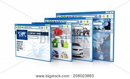 Abstract row web site on white background. 3d illustration