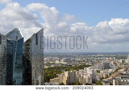View of modern residential districts of Paris from La Grande Arche La Defense.