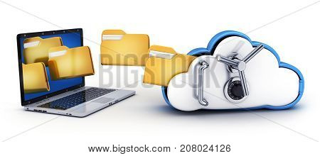 laptop and Symbol cloud storage protect on white background. 3d illustration