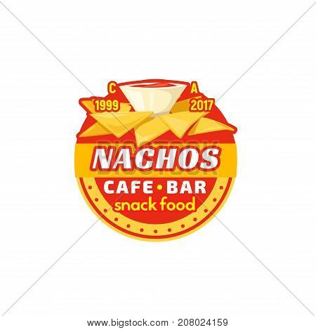 Fast food nachos Mexican chips snack icon for fastfood or junk food restaurant, cafe or cinema bistro bar menu or sign design template. Vector nachos chips and spicy hot pepper or cheese sauce