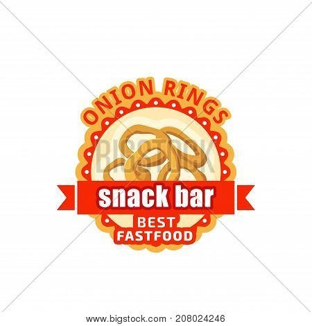 Fast food onion rings menu or restaurant icon for bistro or cinema cafe sign design template. Vector fried onion rings finger food sncak with red ribbon for fastfood meal delivery or takeaway