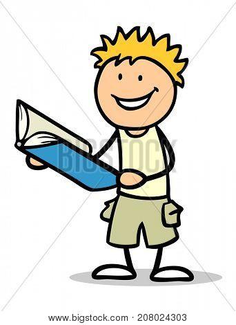 Cartoon kid read book to learn for school