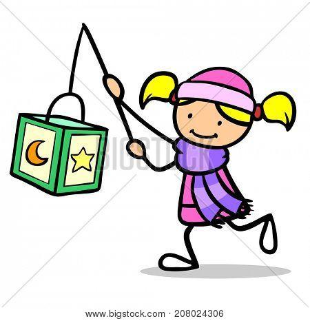 Child in lantern parade of Saint Martin holds glowing lantern