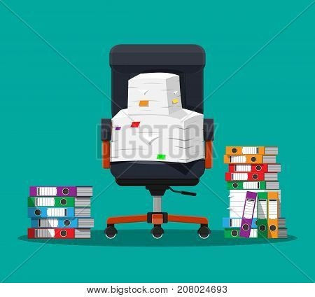 Pile of paper documents and file folders, office chair. Pile of papers. Office documents heap. Routine, bureaucracy, big data, paperwork, office. Vector illustration in flat style