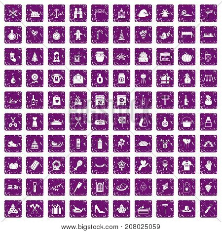 100 family tradition icons set in grunge style purple color isolated on white background vector illustration