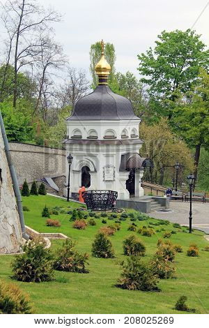 KIEV, UKRAINE - MAY 3, 2011: This is the fountain of St. Anthony in the lower part of the Kiev-Pechersk Lavra.