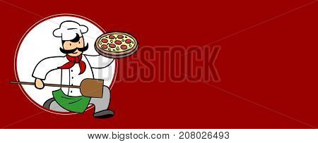 Pizza delivery service with vegetarian pizza and red copy space as background