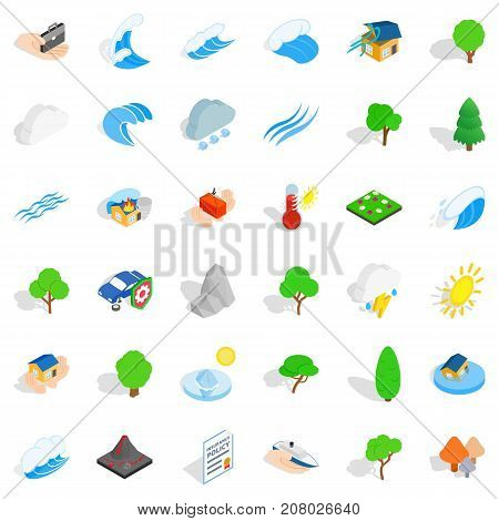 Storm icons set. Isometric style of 36 storm vector icons for web isolated on white background