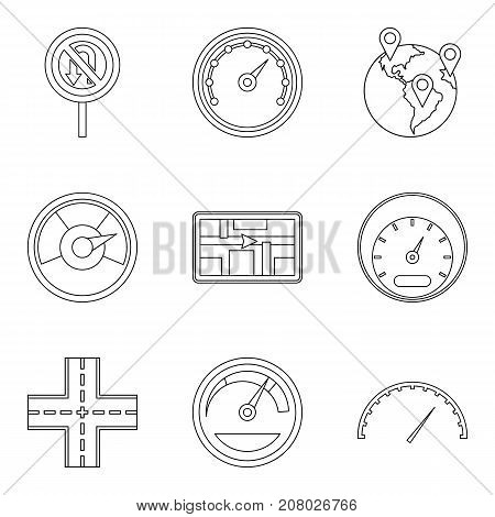 Traveling by country icons set. Outline set of 9 traveling by country vector icons for web isolated on white background