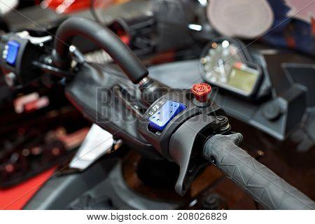 Controls On Handlebars Of Snowmobile