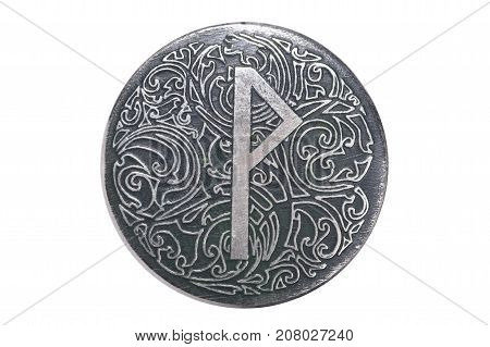 rune of joy with ornament on the pendant, isolated