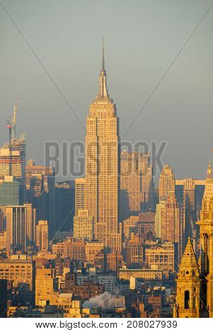 New York City - December 8 2007: New York City skyline of midtown Manhattan from the Financial District.