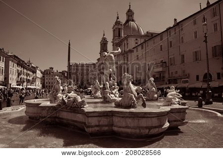 ROME - MAY 12: Piazza Navona with tourists on May 12, 2016 in Rome, Italy. Rome ranked 14th in the world, and 1st the most popular tourism attraction in Italy.