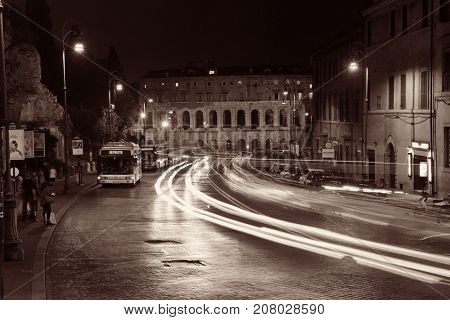 ROME - MAY 12: Street view with Marcello's Theatre on May 12, 2016 in Rome, Italy. Rome ranked 14th in the world, 3rd in European Union, and 1st the most popular tourism attraction in Italy.