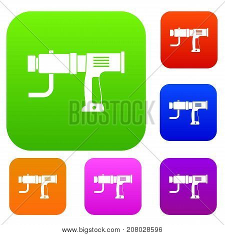 Hand drill set icon color in flat style isolated on white. Collection sings vector illustration