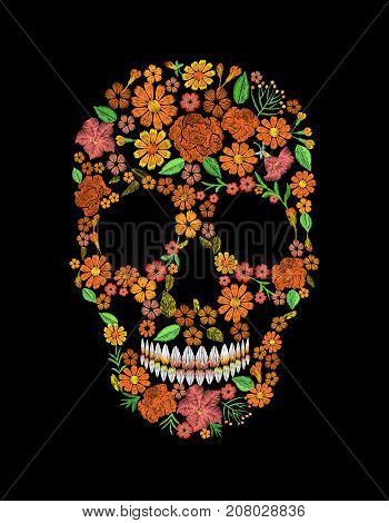 Embroidery skull face orange flower texture mexican patch. Textile print embroidered stitch. Dia de los Muertos Day of the Dead or Halloween card vector illustration background art