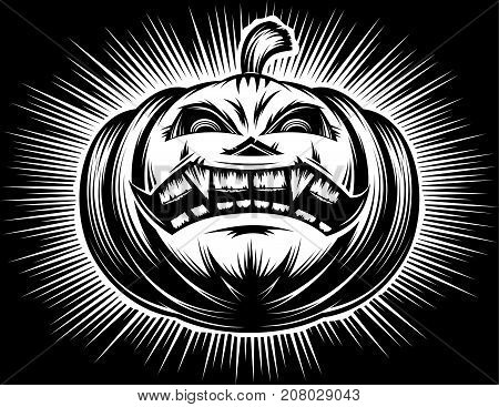 Halloween pumpkin with carved sinister eyes and smiling mouth on a evils holiday; Vector hand drawing illustration in a black retro hatching stamp vintage graphic style for a t-shirt print or tattoo.