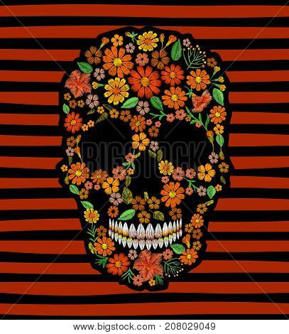 Embroidery skull face orange flower texture mexican patch. Textile print embroidered stitch. Dia de los Muertos Day of the Dead or Halloween card vector illustration on striped background art