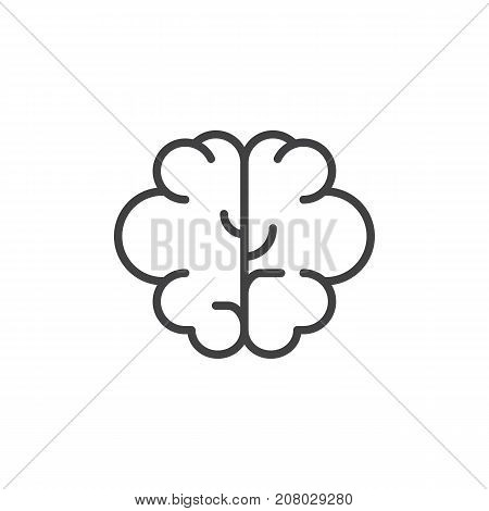 Brain line icon, outline vector sign, linear style pictogram isolated on white. Intellect symbol, logo illustration. Editable stroke