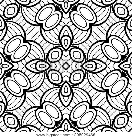 Black And White Seamless Pattern With Mosaic Motif