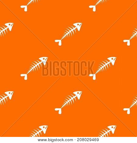 Fish bone pattern repeat seamless in orange color for any design. Vector geometric illustration