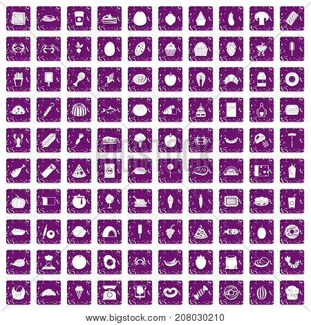 100 favorite food icons set in grunge style purple color isolated on white background vector illustration