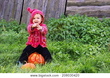 A Small Serious Child In A Purple Dwarf Suit Sits On The Big Pumpkin Smiling And Showing Forth. The