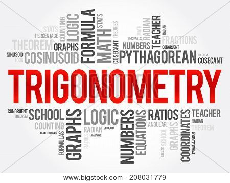 Trigonometry word cloud collage education concept background poster