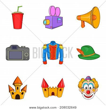 Live action icons set. Cartoon set of 9 live action vector icons for web isolated on white background