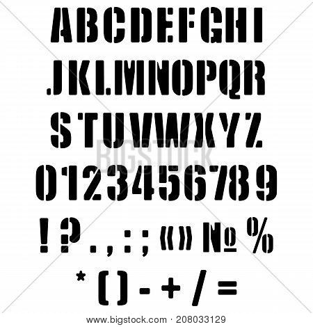 Alphabet English in the form of a stencil. Original vector illustration.