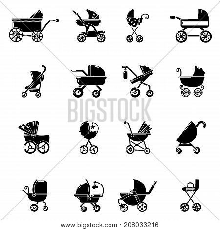 Baby carriage icons set. Simple illustration of 16 baby carriage vector icons for web