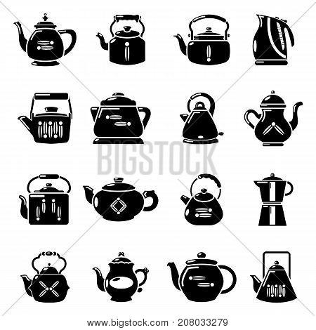 Teapot sport icons set. Simple illustration of 16 teapot vector icons for web