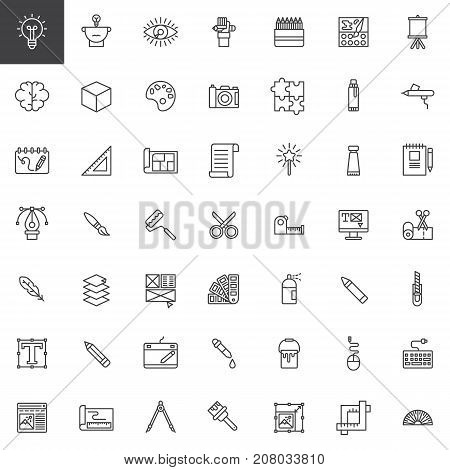 Graphic design tools line icons set, outline vector symbol collection, linear style pictogram pack. Signs, logo illustration. Set includes icons as blueprint, feather, pantone, dropper, web design
