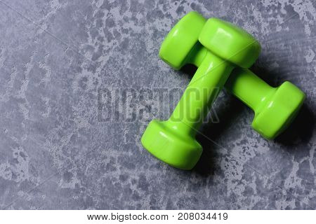 Shaping And Fitness Equipment. Pair Of Barbells Placed Crosswise.