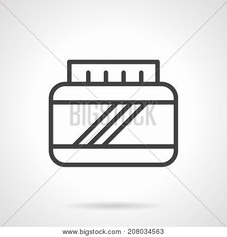 Abstract symbol of bodybuilding and sport supplements jar. Nutrition for muscle gain, athlete health, fitness. Black simple line design vector icon.