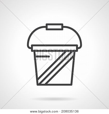 Abstract symbol of bucket or canister packing for sport supplements. Quality storage of protein, amino and other dietary powders. Black simple line design vector icon.