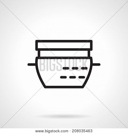 Abstract symbol of dishes for casserole. Kitchenware, saucepan, pots and other accessories for kitchen. Black simple line design vector icon.