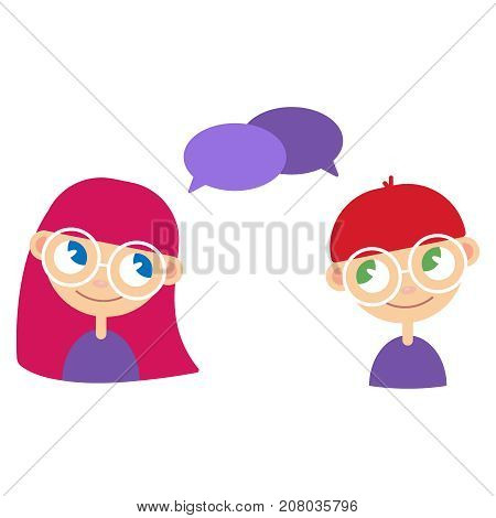 Two cartoon style kids, comics speak bubbles with empty space for text. Girl and boy talking, asking and answering questions, advising, helping. Illustration eps10 vector