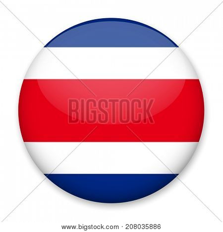 Flag of Costa Rica in the form of a round button with a light glare and a shadow. The symbol of Independence Day, a souvenir, a button for switching the language on the site, an icon.