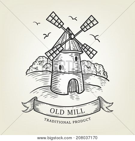 Sketch of farm with windmill. Vector illustration done in graphic style, isolated on background. Village landscape use as label, logo, sticker, emblem for advertising natural products.