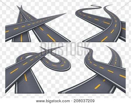 Set of 9 asphalt road concepts in perspective. Highway icons. Vector illustration.
